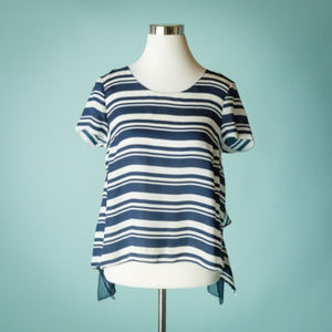 Anthro Maeve M Blue Apropos Top